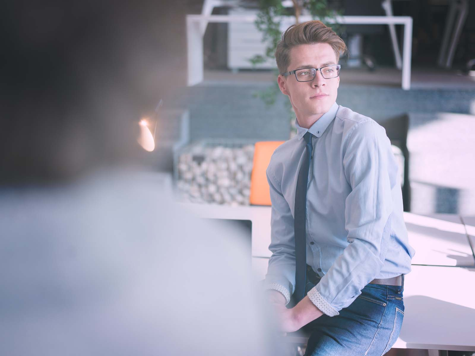 young businessman in startup office