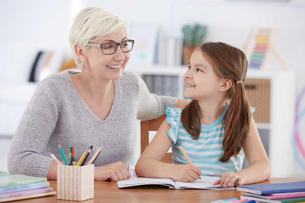girl doing homework tutor