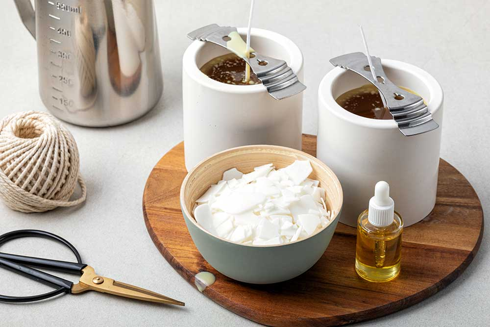 ingredients and tools for handmade aroma candles
